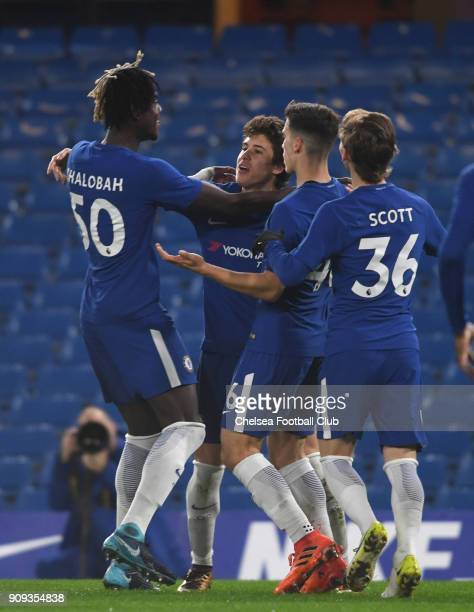 LONDON ENGLAND JANUARY 23 Harvey St Clair of Chelsea celebrates his goal with the team during the Checkatrade Trophy quarter final match between...