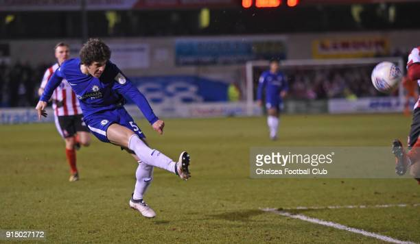 Harvey St Clair of Chelsea during the Checkatrade Trophy Semi Final match between Lincoln City and Chelsea at Sincil Bank on February 6 2018 in...