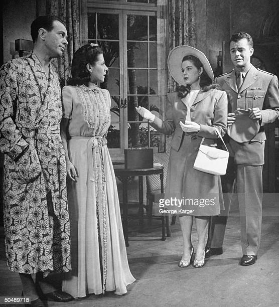 Harvey Stephens Ruth Gordon Beatrice Pearson and Thomas Seidel acting in production of Over TwentyOne