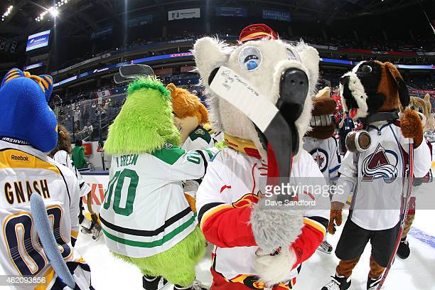 Harvey the Hound of the Calgary Flames and his fellow mascots skate during the mascot showdown as part of the 2015 NHL AllStar Weekend at Nationwide...