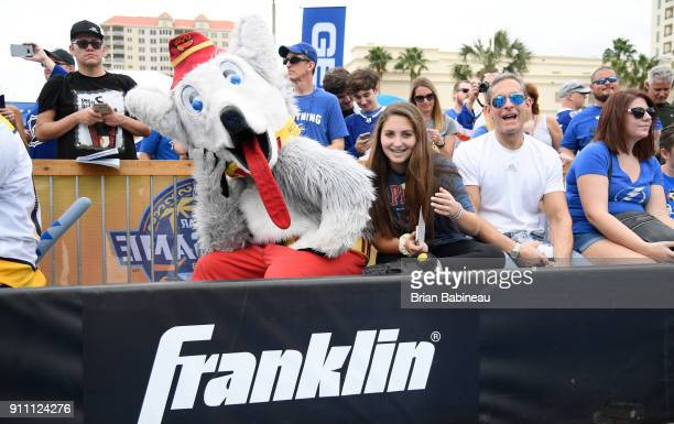 Harvey the Hound of the Calgary Flames interacts with fans during the PreGame Mascot Showdown at Amalie Arena on January 27 2018 in Tampa Florida