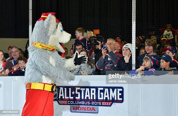 Harvey the Hound of the Calgary Flames interacts with the fans during the mascot showdown as part of the 2015 NHL AllStar Weekend at York Rink on...