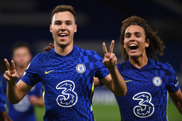 Harvey Vale and Charlie Webster of Chelsea Celebrate scoring a penalty during the Premier League 2 match between Chelsea and Manchester United at...