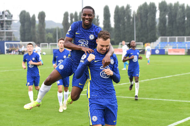 Harvey Vale and Dion Rankine of Chelsea celebrate the penalty during the Chelsea v Zenit St Petersburg UEFA Youth League match on September 14th,...
