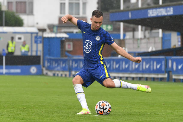 Harvey Vale of Chelsea crosses the ball during the Chelsea v Arsenal Premier League 2 match at Kingsmeadow on April 30, 2021 in Kingston upon Thames,...