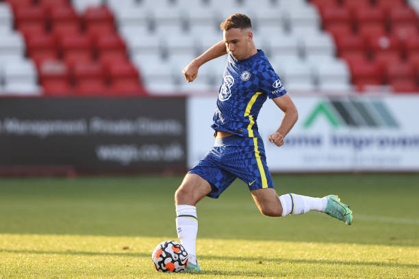 Harvey Vale of Chelsea during the Premier League 2 match between Tottenham Hotspur and Chelsea at The Lamex Stadium on August 16, 2021 in Stevenage,...