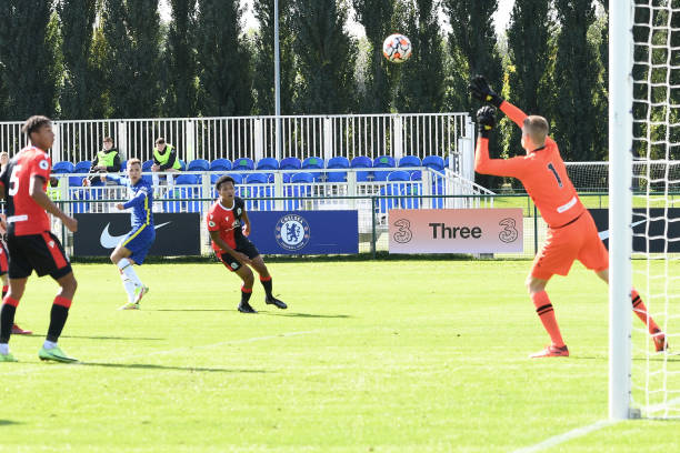 Harvey Vale of Chelsea has a shot on goal during the Chelsea v Blackburn Premier league 2 match on October 3rd, 2021 in Cobham, England.