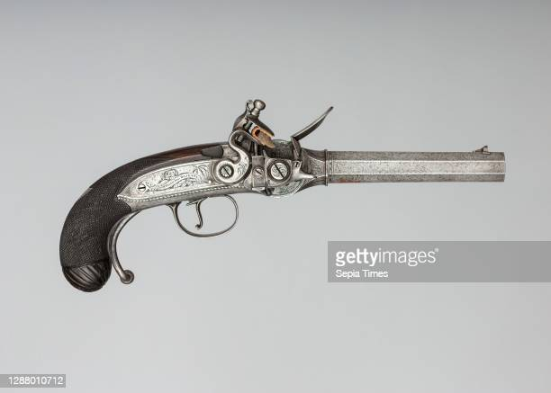 Harvey Walklate Mortimer, Flintlock Repeating Pistol with Lorenzoni Action, Bearing the Crests of Vice Admiral Horatio Nelson , with Case and...