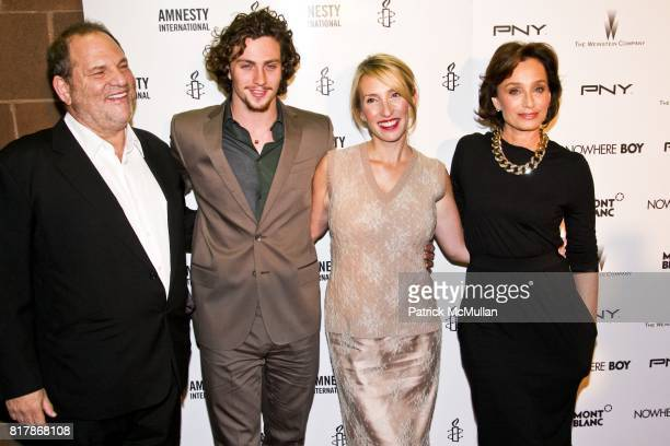 Harvey Weinstein Aaron Johnson Sam TaylorWood and Kristen Scott Thomas attend NOWHERE BOY Premiere at Tribeca Performing Arts Center on September 21...