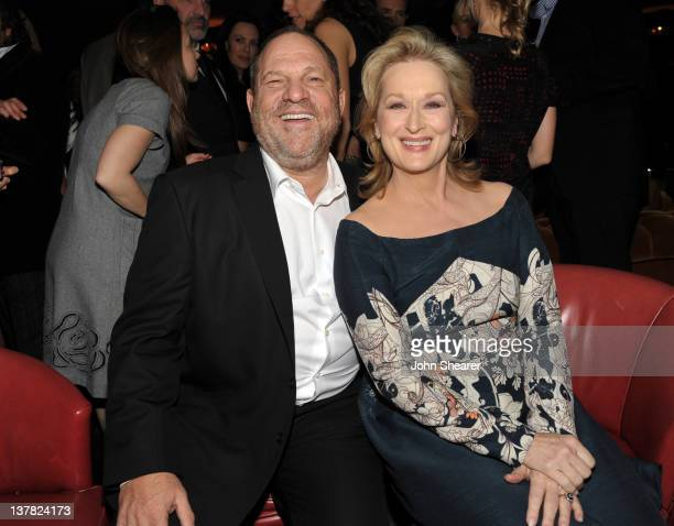 Harvey Weinstein and actress Meryl Streep attend the Australian Academy Of Cinema And Television Arts International Awards Ceremony at Soho House on...