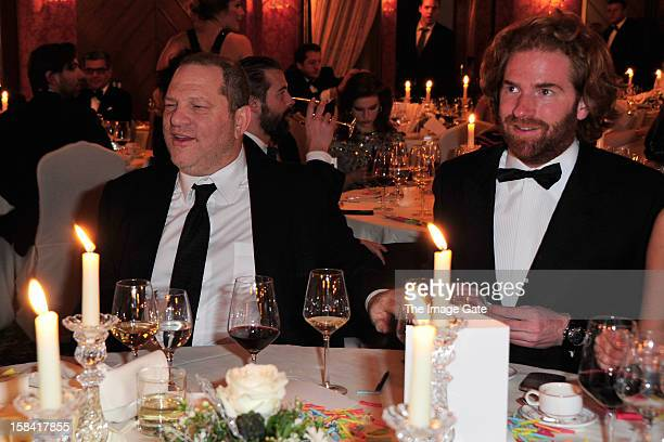 Harvey Weinstein and ASMALLWORLD CEO Patrick LiotardVogt attend the ASMALLWORLD Gala Dinner for Alzheimer Society at the Gstaad Palace Hotel on...