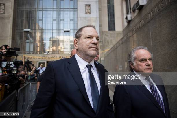 Harvey Weinstein and attorney Benjamin Brafman exit State Supreme Court June 5 2018 in New York City Weinstein pleaded not guilty on two counts of...