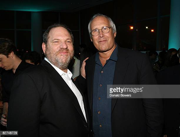 Harvey Weinstein and Chevy Chase attend the 23 and Me Spit party at the IAC Building on September 9 2008 in New York City