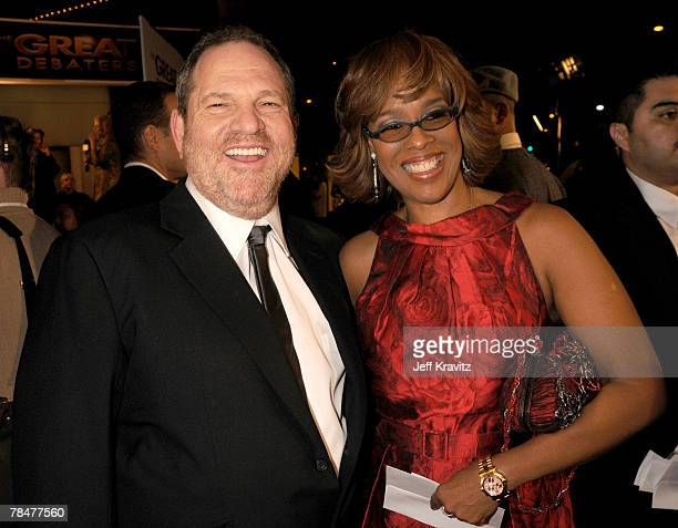 Harvey Weinstein and Gayle King at the premiere of The Great Debaters at the Arclight Theater on December 11 2007 in Hollywood California
