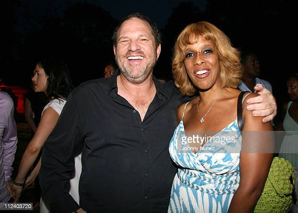 Harvey Weinstein and Gayle King during Art for Life Benefit Sponsored by Platinum Sponsors Target and Motorola at East Hampton Estate of Russell...