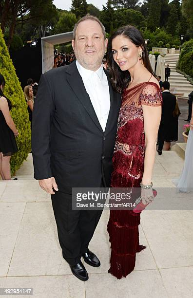 Harvey Weinstein and Georgina Chapman attend amfAR's 21st Cinema Against AIDS Gala presented by WORLDVIEW BOLD FILMS and BVLGARI at Hotel du...