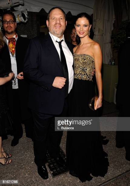 Harvey Weinstein and Georgina Chapman attend the 62nd Annual Tony Awards after party on June 15 2008 at Rockefeller Center in New York City