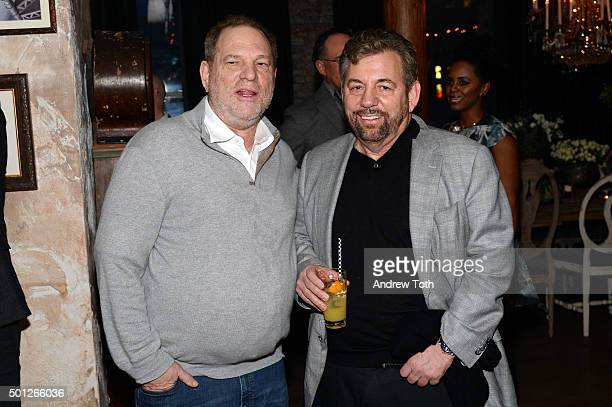 Harvey Weinstein and James Dolan attend a celebration for Bryan Cranston at House of Elyx on December 13 2015 in New York City