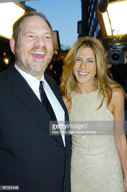 "Harvey Weinstein and Jennifer Aniston arrive at the Loews Lincoln Square Theater for the premiere of the movie ""Derailed."" She stars in the film."