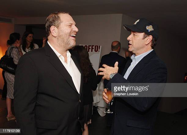 Harvey Weinstein and Kevin Spacey during Book Party for Peter Bart's 'Boffo' June 26 2006 at Royalton Hotel in New York New York United States