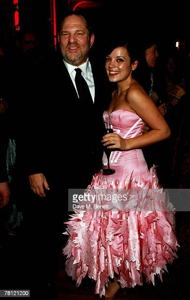 Harvey Weinstein and Lily Allen attend the British Fashion Awards at the Lawrence Hall on November 27 2007 in London England