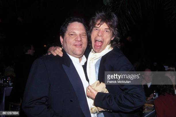 Harvey Weinstein and Mick Jagger at the CFDA Fashion Awards at Lincoln Center on February 12 1996