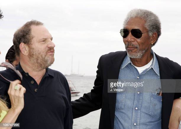 Harvey Weinstein and Morgan Freeman during 2005 Cannes Film Festival Miramax Luncheon Inside at The Majestic in Cannes France