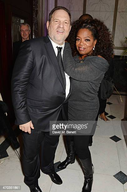 Harvey Weinstein and Oprah Winfrey attend the Weinstein Co Entertainment and Pathe postBAFTA party hosted by Bulgari and Grey Goose at Rosewood...