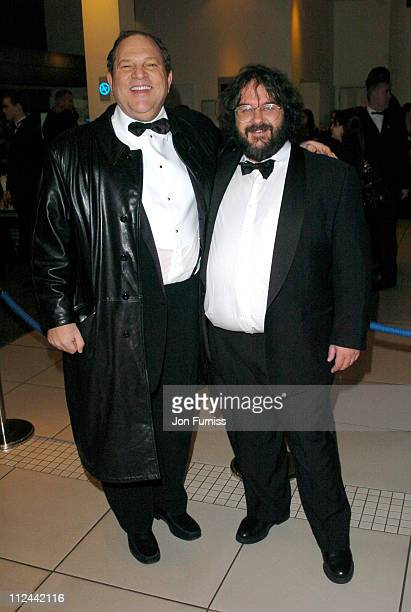 Harvey Weinstein and Peter Jackson during 2004 BAFTA Awards Inside Arrivals at The Odeon Leicester Square in London United Kingdom