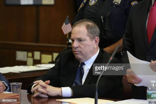 Harvey Weinstein appears at his arraignment in Manhattan Criminal Court on July 9 2018 in New York City Weinstein previously arrested for sexual...