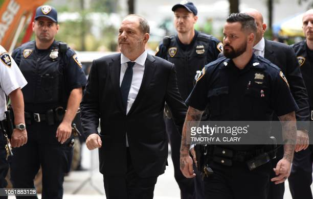 Harvey Weinstein arrives at Manhattan Criminal Court for a hearing on October 11 2018 in New York City