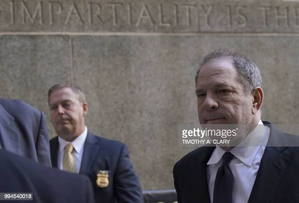 Harvey Weinstein arrives at Manhattan Criminal Court on July 9 2018 in New York for arraignment on charges alleging he committed a sex crime against...
