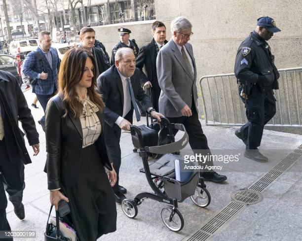 Harvey Weinstein arrives at New York City Supreme Court on February 24 2020 in New York United States Weinstein was convicted of thirddegree rape and...