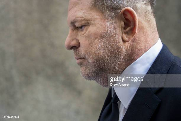Harvey Weinstein arrives at State Supreme Court June 5 2018 in New York City Weinstein is set to face an indictment on two counts of rape and is...