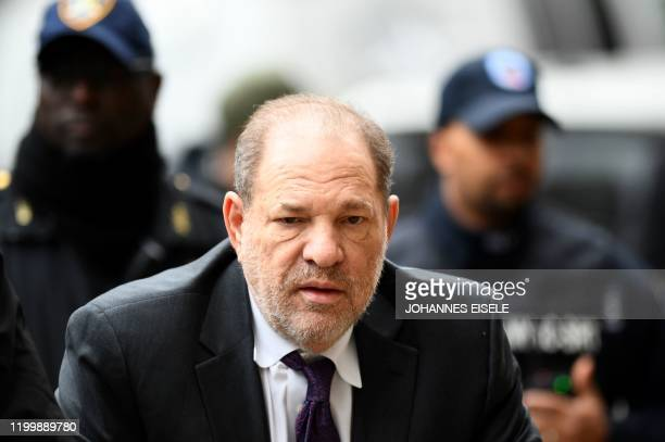 Harvey Weinstein arrives at the Manhattan Criminal Court, on February 10, 2020 in New York City. - Since testimony began on January 22,2020 six women...