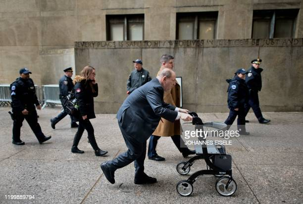 TOPSHOT Harvey Weinstein arrives at the Manhattan Criminal Court on February 10 2020 in New York City Since testimony began on January 222020 six...