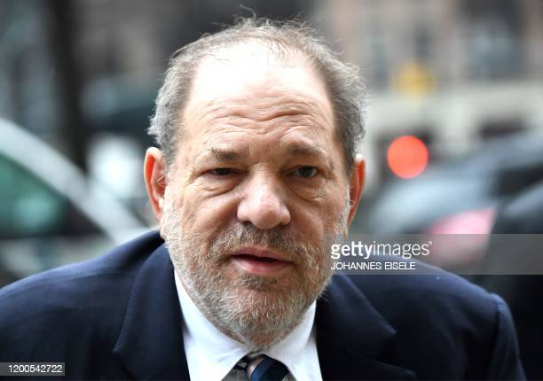 Harvey Weinstein arrives at the Manhattan Criminal Court on February 13 2020 in New York City Weinstein faces life imprisonment if convicted of...