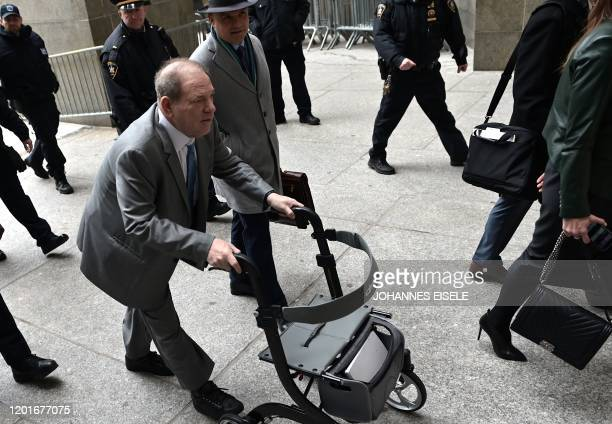 Harvey Weinstein arrives at the Manhattan Criminal Court, on February 18, 2020 in New York City. - Jurors will begin deliberating the fate of...