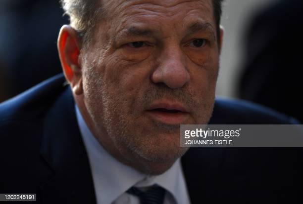 Harvey Weinstein arrives at the Manhattan Criminal Court, on February 21, 2020 in New York City. - The disgraced movie mogul faces life in prison if...