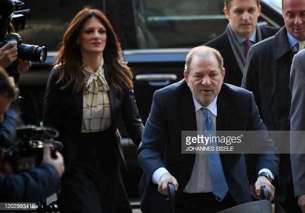 Harvey Weinstein arrives at the Manhattan Criminal Court, on February 24, 2020 in New York City. - The jury in Harvey Weinstein's rape trial hinted...