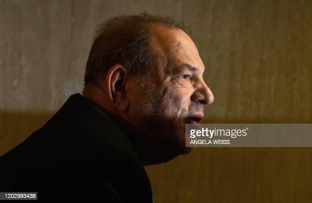 TOPSHOT Harvey Weinstein arrives at the Manhattan Criminal Court on February 24 2020 in New York City The jury in Harvey Weinstein's rape trial...