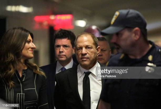 Harvey Weinstein arrives to a New York court for the arraignment over a new indictment for sexual assault on August 26, 2019 in New York City. The...