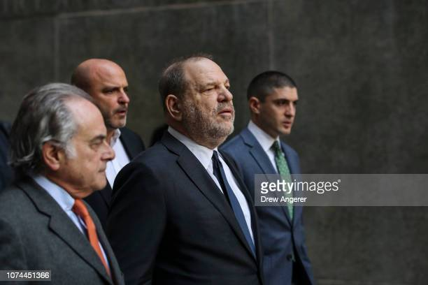 Harvey Weinstein arrives with his lawyer Ben Brafman exit a court hearing at New York Criminal Court December 20 2018 in New York City A judge denied...