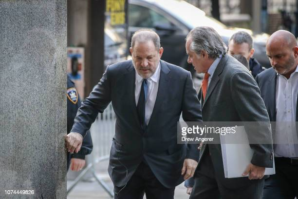 Harvey Weinstein arrives with his lawyer Ben Brafman for a court hearing at New York Criminal Court December 20 2018 in New York City Weinstein's...
