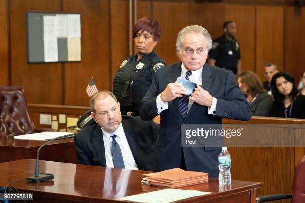 Harvey Weinstein arrives with his lawyer Benjamin Brafman to plead not guilty to three felony counts in State Supreme Court on June 5 2018 in New...