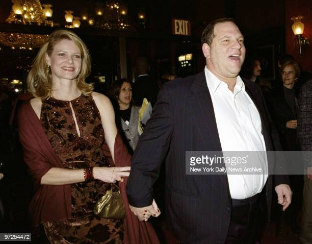 Harvey Weinstein attending premiere of the movie 'Music Of The Heart' at the Ziegfeld Theater with his wife Eve Chilton Weinstein
