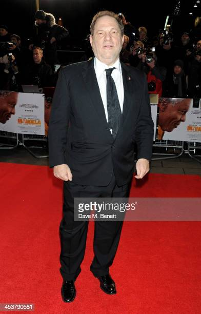 """Harvey Weinstein attends the Royal Film Performance of """"Mandela: Long Walk to Freedom"""" at Odeon Leicester Square on December 5, 2013 in London,..."""