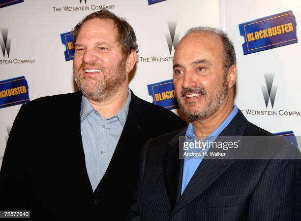 Harvey Weinstein Blockbuster Chairman and CEO John Antioco attend a press conference announcing The Weinstein Company's deal with Blockbuster Inc for...