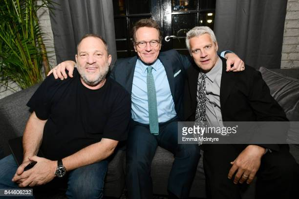 Harvey Weinstein Bryan Cranston and Neil Burger attend the 'The Upside' cocktail party hosted by RBC and The Weinstein Company at RBC House Toronto...