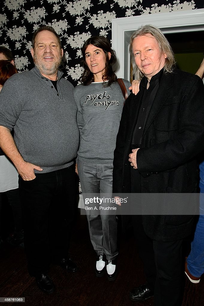 Harvey Weinstein, Christopher Hampton and Bella Freud attend the August: Osage County drinks & screening at Soho Hotel on December 21, 2013 in London, England.